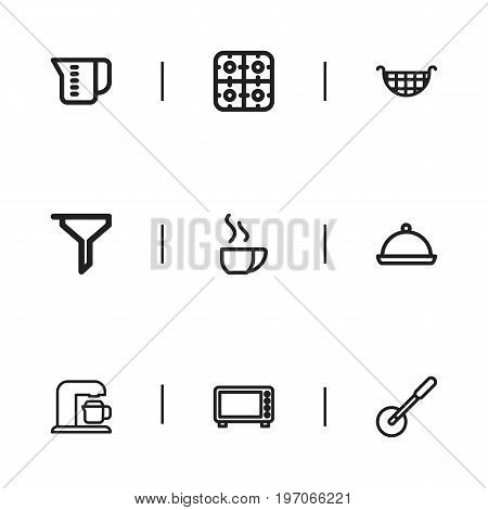 Set Of 9 Editable Food Outline Icons. Includes Symbols Such As Tray, Stove, Cappuccino And More