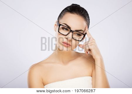 Attractive Girl At Studio Background
