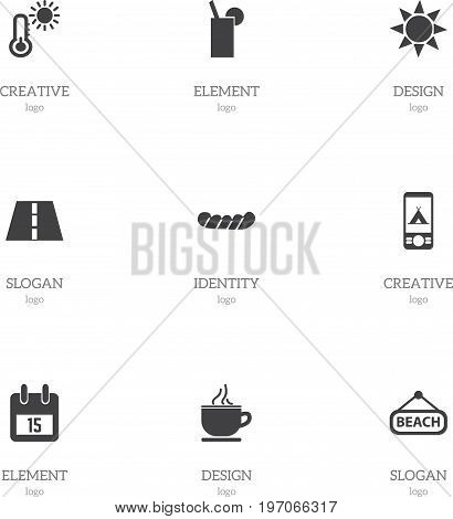 Set Of 9 Editable Journey Icons. Includes Symbols Such As Plage, Bratwurst, Thermometer And More