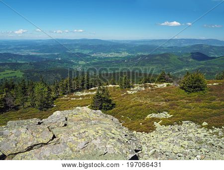 View From Rocky Formation In Jeseniky Mountain - Hills, Trees, Villages