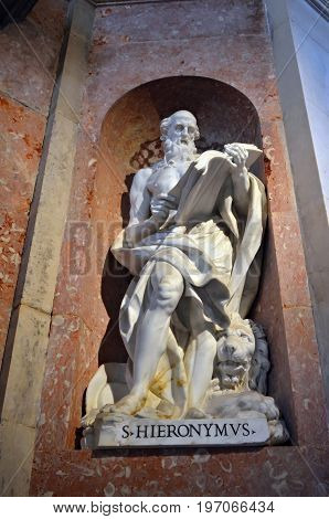 Saint Jerome Statue In Mafra, Portugal