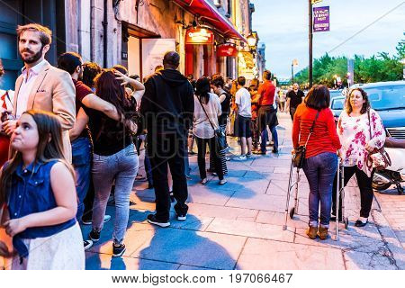 Montreal, Canada - May 27, 2017: Old Town Area With People Waiting In Line Queue Outside Restaurant