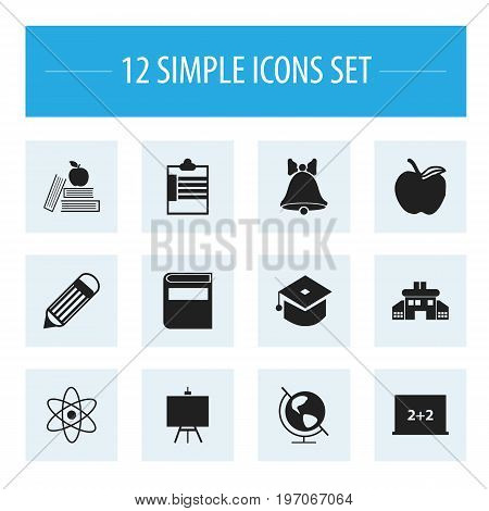 Set Of 12 Editable Education Icons. Includes Symbols Such As Eraser, Jingle, Kindergarten And More