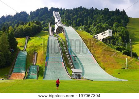 GARMISCH PARTENKIRCHEN GERMANY - JULY 26, 2017: The Olympic Ski Stadium it first gained international fame when the 1936 Olympic Games were held here. It  is one of the most popular sights in Ga Pa.