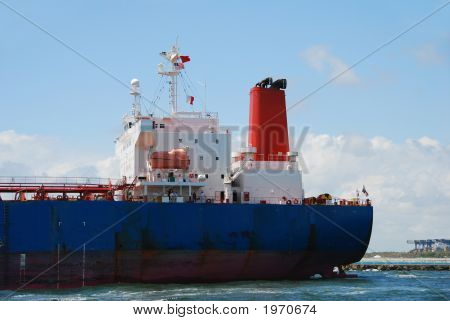 Cargo Barge At Sea