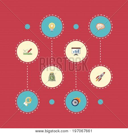 Flat Icons Bulb, Show, Rocket And Other Vector Elements
