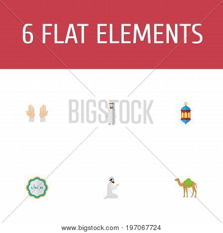 Flat Icons Dromedary, Palm, Decorative And Other Vector Elements