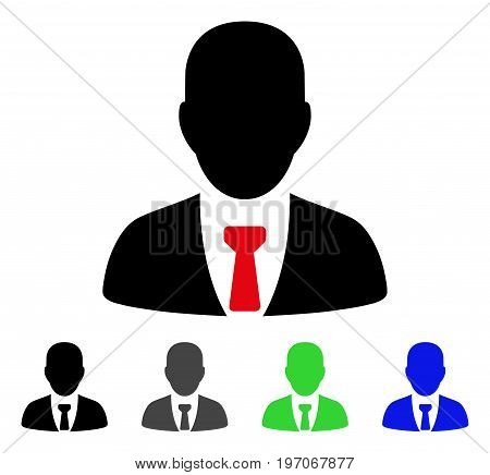 Businessman flat vector pictogram. Colored businessman gray, black, blue, green pictogram variants. Flat icon style for application design.