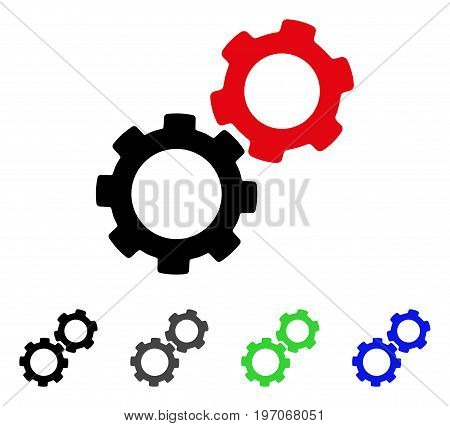 Gears flat vector illustration. Colored gears gray, black, blue, green pictogram variants. Flat icon style for graphic design.