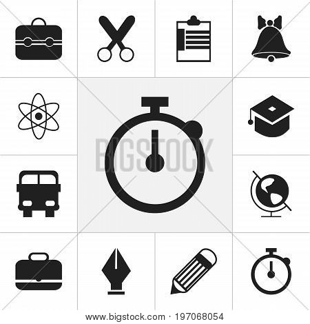 Set Of 12 Editable Education Icons. Includes Symbols Such As Transport Vehicle, Eraser, Nib And More