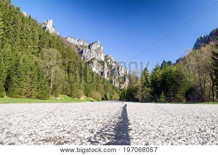 Empty asphalt road over Mala Fatra mountains Slovakia