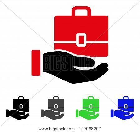 Hand Holding Case flat vector icon. Colored hand holding case gray, black, blue, green icon versions. Flat icon style for web design.