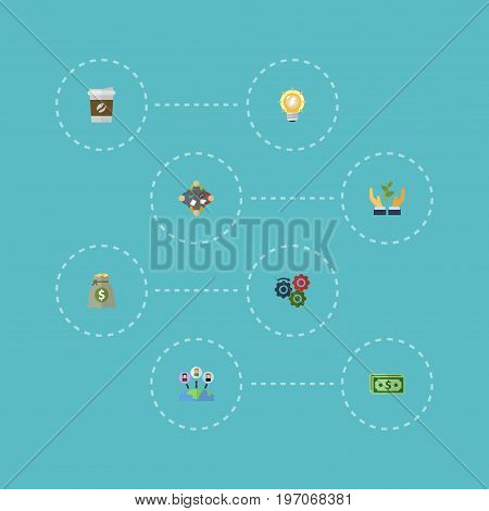 Flat Icons Bulb, Cash, Help And Other Vector Elements