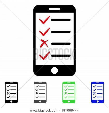 Mobile Tasks flat vector illustration. Colored mobile tasks gray, black, blue, green pictogram versions. Flat icon style for graphic design.