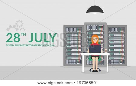 28 July System Administrator Appreciation Day. Web Banner. Vector illustration in flat style. Technologies Server Maintenance Support Descriptions.