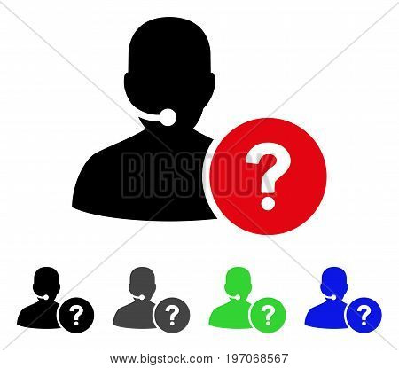 Online Support flat vector pictograph. Colored online support gray, black, blue, green icon versions. Flat icon style for graphic design.