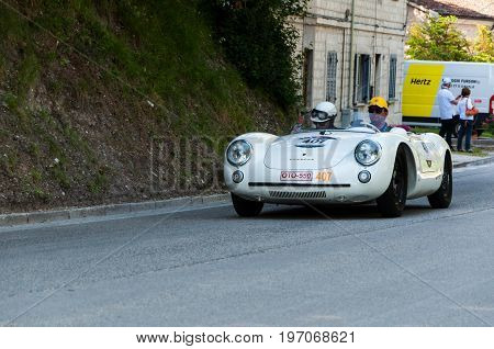 GOLA DEL FURLO, ITALY - MAY 19: PORSCHE 550 SPYDER RS 1955 on an old racing car in rally Mille Miglia 2017 the famous italian historical race (1927-1957) on May 19 2017