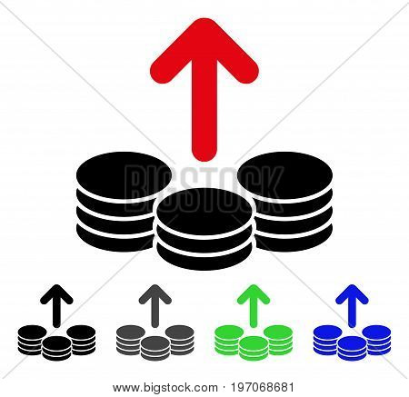 Payout Coins flat vector pictograph. Colored payout coins gray, black, blue, green icon versions. Flat icon style for web design.