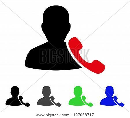 Phone Support flat vector pictogram. Colored phone support gray, black, blue, green icon variants. Flat icon style for graphic design.