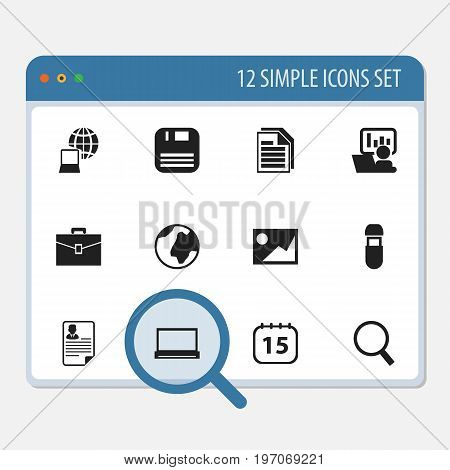 Set Of 12 Editable Office Icons. Includes Symbols Such As Sheets, Monitor, Diskette And More