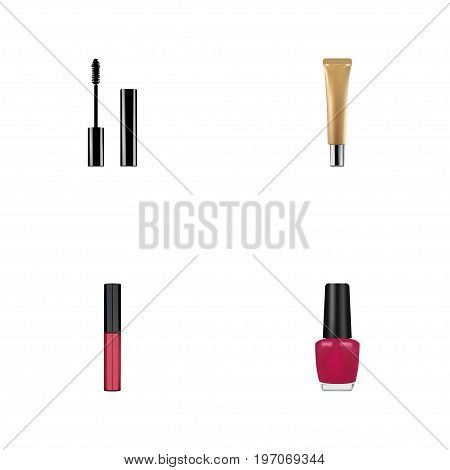 Realistic Varnish, Collagen Tube, Liquid Lipstick And Other Vector Elements