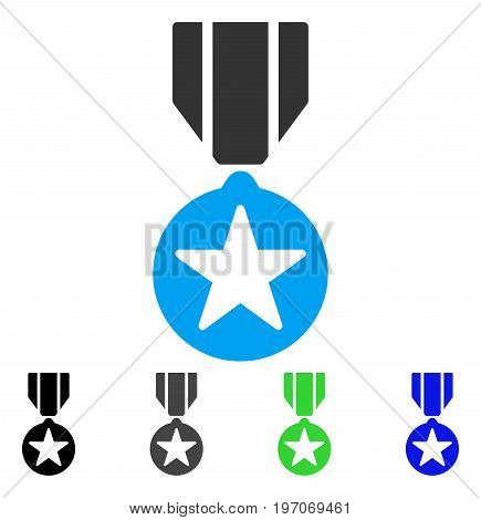 Army Star Award flat vector illustration. Colored army star award gray, black, blue, green pictogram versions. Flat icon style for graphic design.