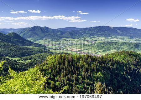 Beautiful view from vrch Hrdos (Ostre) in Mala Fatra national park. Mountains landscape