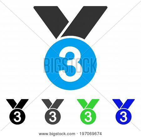 Bronze Medal flat vector pictograph. Colored bronze medal gray, black, blue, green icon versions. Flat icon style for graphic design.