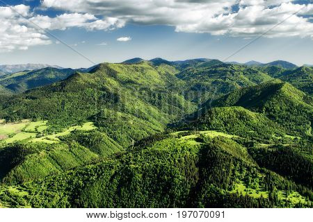 Beautiful view from hill Hrdos (Ostre). Great Fatra mountains landscape.