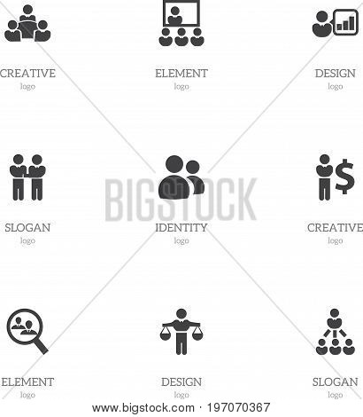 Set Of 9 Editable Cooperation Icons. Includes Symbols Such As Finance Director, Introducing, Human Resouces And More