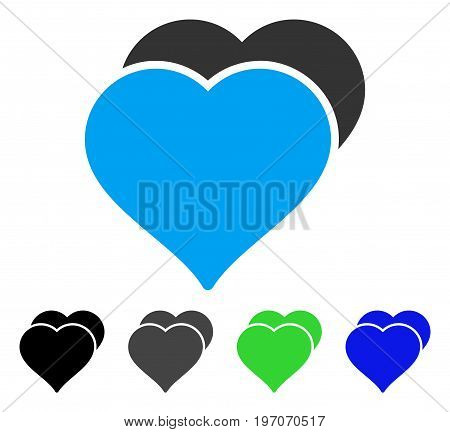 Love Hearts flat vector pictograph. Colored love hearts gray, black, blue, green pictogram versions. Flat icon style for web design.