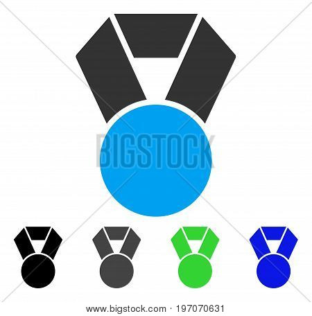 Medal flat vector pictograph. Colored medal gray, black, blue, green icon variants. Flat icon style for application design.