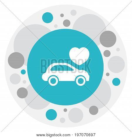 Vector Illustration Of Love Symbol On Automobile Icon