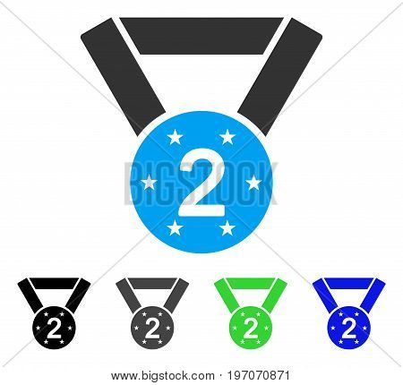 Second Medal flat vector pictograph. Colored second medal gray, black, blue, green pictogram versions. Flat icon style for web design.