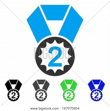 Second Place flat vector pictogram. Colored second place gray, black, blue, green icon variants. Flat icon style for web design.