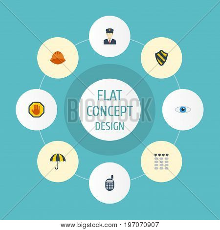 Flat Icons Hardhat, Shield, Vision And Other Vector Elements