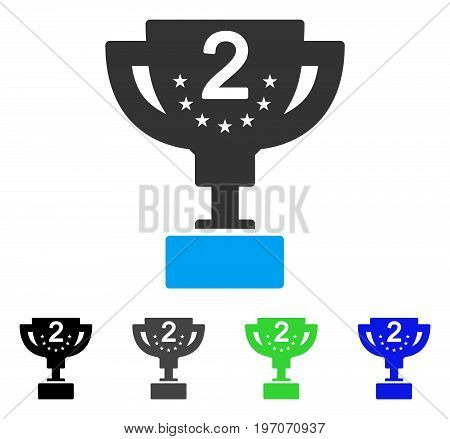 Second Prize Cup flat vector pictogram. Colored second prize cup gray, black, blue, green pictogram variants. Flat icon style for application design.
