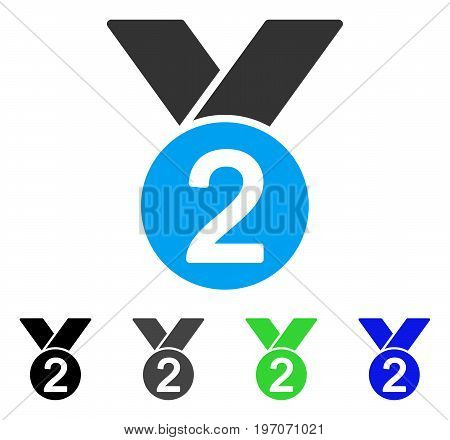 Silver Medal flat vector pictogram. Colored silver medal gray, black, blue, green icon versions. Flat icon style for graphic design.