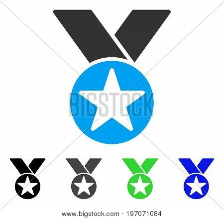 Star Medal flat vector pictograph. Colored star medal gray, black, blue, green pictogram versions. Flat icon style for application design.