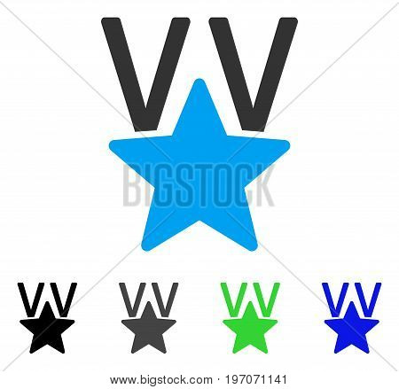 Star Victory Award flat vector pictogram. Colored star victory award gray, black, blue, green icon versions. Flat icon style for web design.