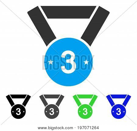 Third Medal flat vector pictogram. Colored third medal gray, black, blue, green icon variants. Flat icon style for application design.