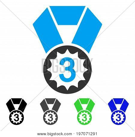 Third Place flat vector illustration. Colored third place gray, black, blue, green icon versions. Flat icon style for application design.