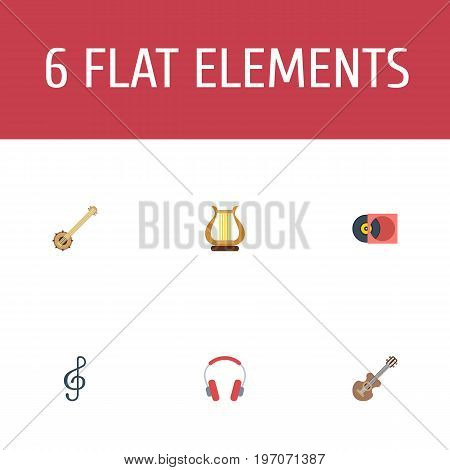 Flat Icons Acoustic, Banjo, Retro Disc And Other Vector Elements