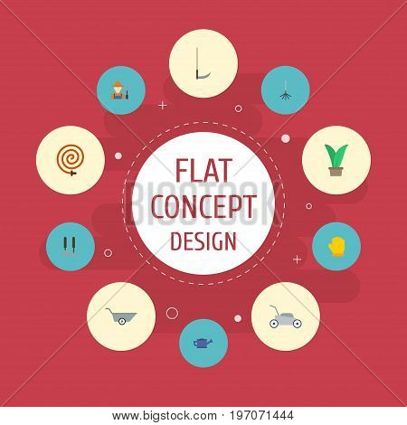 Flat Icons Rake, Grower, Latex And Other Vector Elements