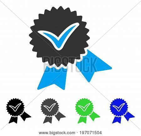 Validation Seal flat vector pictogram. Colored validation seal gray, black, blue, green icon variants. Flat icon style for web design.
