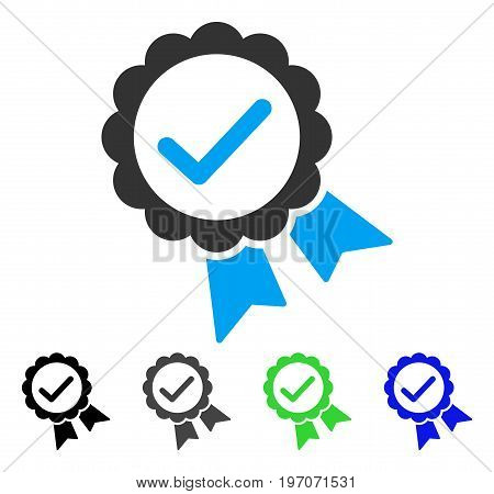 Validity Seal flat vector illustration. Colored validity seal gray, black, blue, green pictogram variants. Flat icon style for application design.