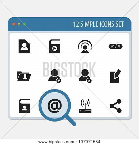 Set Of 12 Editable Global Icons. Includes Symbols Such As Wifi, Song List, Document And More