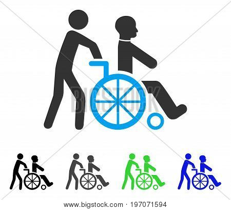 Disabled Person Transportation flat vector icon. Colored disabled person transportation gray, black, blue, green icon versions. Flat icon style for application design.