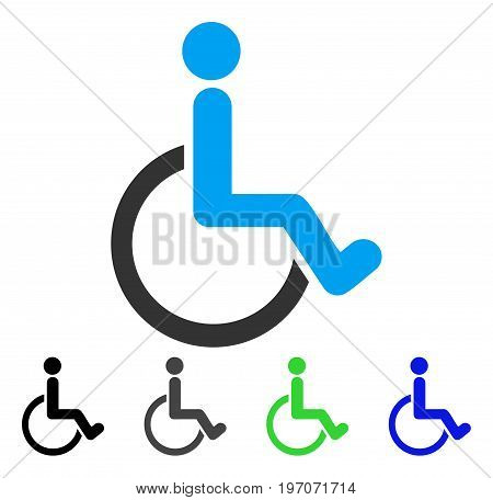 Disabled Person flat vector pictograph. Colored disabled person gray, black, blue, green icon variants. Flat icon style for graphic design.