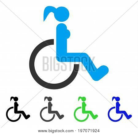 Disabled Woman flat vector pictogram. Colored disabled woman gray, black, blue, green pictogram versions. Flat icon style for web design.